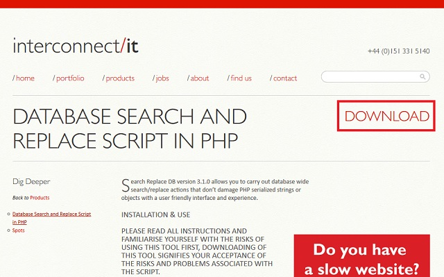 「Database Search and Replace Script in PHP」の公式サイト