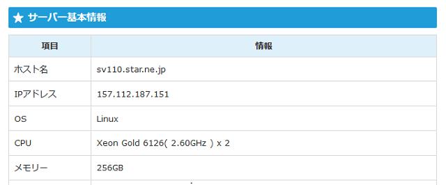 スターサーバーのサーバースペックは管理画面で確認できる